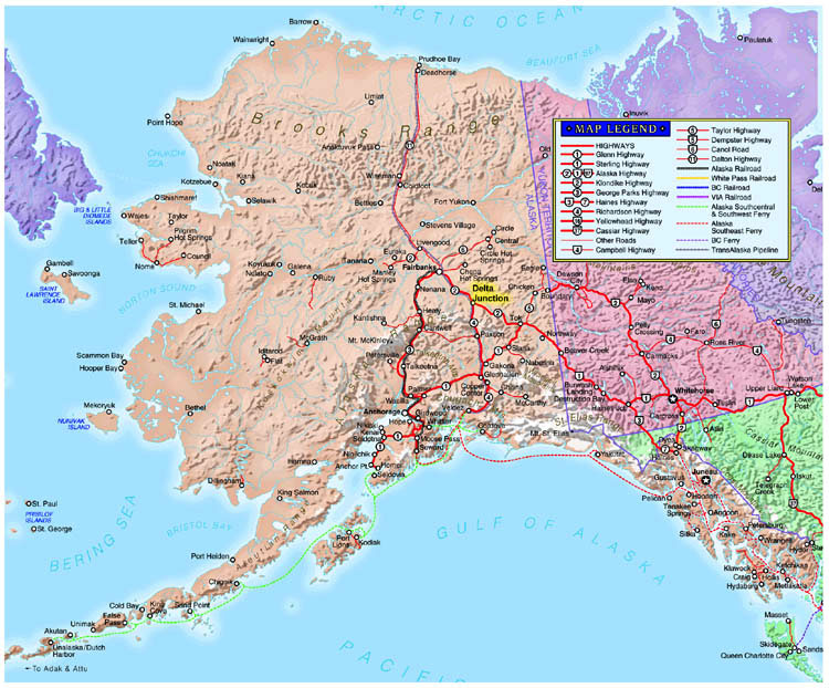 Alaska Highway Project Jukebox - Map of alaska and canada